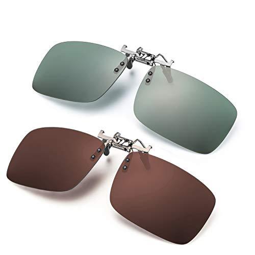 ELIVWR 2-Stück, Herren Rectangle Sonnenbrillen-Clip Polarisierte für Brillenträger Autofahren für Brillenträger 100% Schutz vor Schädlichen UVA/UVB Strahlen (Grün+Braun, 59 * 41)
