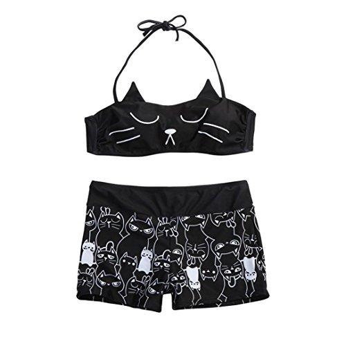 Cut-out-anzug (Badeanzug Damen Sportlich , Yogogo Zweiteiliger Bikini Set | Badeanzüge Figurformende | Bademode Tankini | Schwimmen Anzüge | Badekleidung Bauchweg | Elastische Dünne Swimsuit (S, Schwarz))