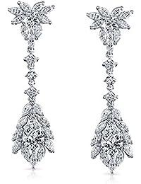 Bling Jewelry Vintage Style Teardrop CZ Chandelier Earrings Rhodium Plated
