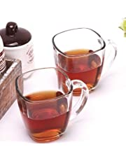 Square original 6 crystal glass Mugs for Tea and Coffee 140 ml