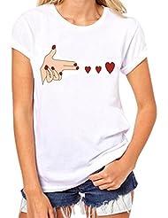 Blouse T-shirt en vrac Femmes manches courtes coeur Imprimé Tops Casual