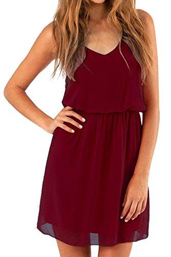 Cassiecy vestito estivo da donna scollo v elegante chiffon abito da spiaggia casual senza maniche mini abiti (l, rosso scuro)