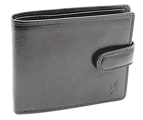 StarHide Mens Soft Luxury Italian Veg Tanned Leather Tri fold Wallet With ID, Credit Card & Coin Pockets (Black) - 1212