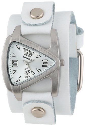 Nemesis Women's WGB024S Small Triangle White on White Leather Cuff Quartz Watch