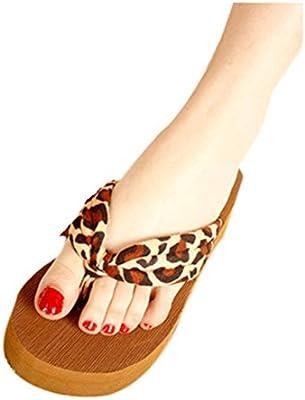 Transer 2016 1Pair Leopardo de las mujeres de la sandalia de la plataforma Plataformas Chancletas Casa zapatos de los deslizadores