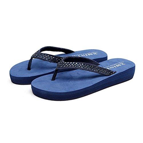 SHANGXIAN Feuillet de la femme en strass de sandale été Wedge Sandal Blue