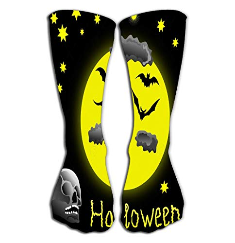 Adigao Hohe Socken Outdoor Sports Men Women High Socks Stocking Halloween Skull Bats Full Moon Good Tile Length 19.7