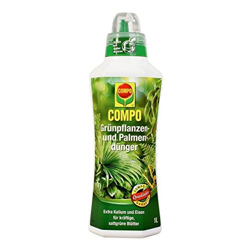 COMPO Grünpflanzen- und Palmendünger für alle Zimmer-, Balkon- und Terrassenpflanzen, Spezial-Flüssigdünger mit extra Kalium und Eisen, 1 Liter (20 20 20-dünger Flüssig)