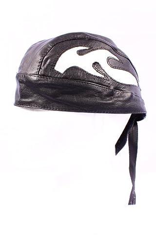 BANDANA Motorcycle Real Lambskin Leather Zandana Pre-Tied Unisex Hat Cap. (BLACK WHITE FLAME)
