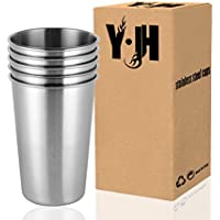 CherryKelly Stainless Steel Cup, Reusable Metal Beer Tumbler, Stackable Drinking Glass, BPA Free Mug, for Camping,Hiking…