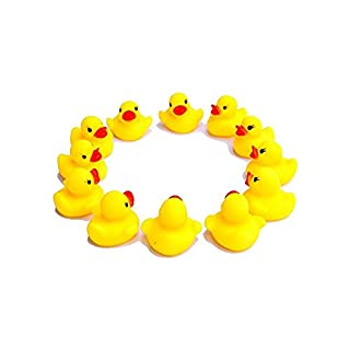 Aikesi 20pcs Little Yellow Ducks Cute Baby's Shower Toys Soft Plastic Can Make A Sound Bath Toys
