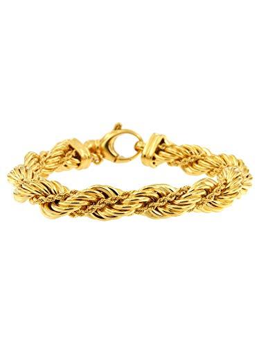 Collezione Etrusca Gioielli Donna Bracciale in Catena a Corda in oro placcato 18 carati; misure bracciali Piccola,media,grande.