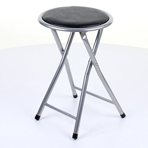 Marko Furniture Round Folding Kitchen Breakfast Bar Stool Chair Silver Frame Seat (Black)