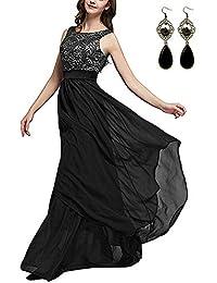 3cd43ed66bf9 carinacoco Donna Elegante Vestiti da Matrimonio Pizzo Abito in Chiffon Lunghi  Vestito Formale Banchetto Sera