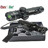 CursOnline® Puntero láser de precisión para escopeta pistola Caza Airsoft tiro de color verde Juego Completo de fijaciones, cordón remoto, batería y cargador. Distancia 2000metros