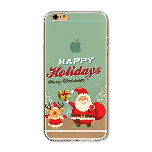 Christmas Hülle iPhone 7 Plus / iPhone 8 Plus LifeePro Weihnachts Cover Ultra dünn Weiches Transparent TPU Gel Silikon Handy Tasche Bumper Case Anti-Scratch Back Cover Full Body Schutzhülle für iPhone Happy Holidays