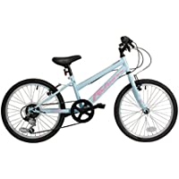 "Falcon Starlight Girls' Mountain Bike Blue/Pink, 11"" inch steel frame, 6 speed powerful front and rear v-brakes hi-tensile steel frame and rigid mtb fork"