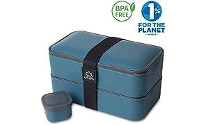 Umami® ⭐ Lunch Box Bleu Denim | Boîte Bento Japonaise Premium avec 3 Couverts Solides Et 1 Pot À Sauce | 1200ml | Hermétique | Passe Au Micro-Ondes Et Au Lave-Vaisselle | sans BPA | Marque Déposée