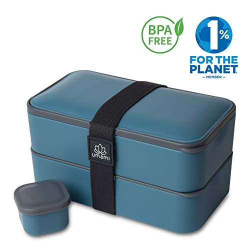 UMAMI® ⭐ Lunch Box Blue Denim | Porta Pranzo Ermetico 2 Scomparti e 3 Coperchi con Posate e Porta Condimento | Per Microonde e Lavastoviglie | Contenitori Alimentari Bento Box Portatile | No BPA