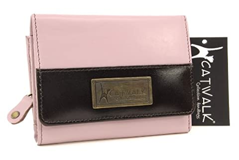 Catwalk Collection Leather Purse - Milan - Pink/Brown