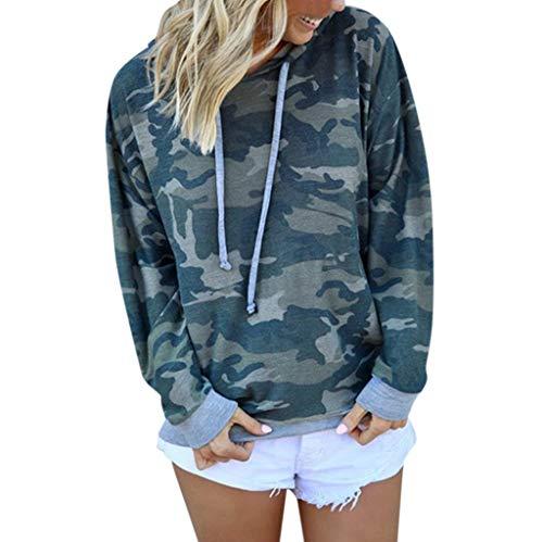 TOPKEAL Langarmshirt Damen Kapuzenpullover Langarm Camouflage Hoodie Sweatshirt Casual T-Shirt Lose Bluse Oberteil Top (Blau, S)