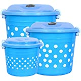 Wonder Delco Combo Set Printed Containers with Side Lock-Handle, (1 x 6L, 1 x 11L, 1 x 16 L), Set of 3, Blue Color, Made in I