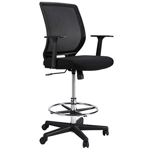 Ergonomischer Bürostuhl, Slypnos Stehhilfe barhocker mit Lehne, Mesh Drehstuhl mit Ringfußstütze, höhenverstellbar Profi Arbeitsstuhl mit geräuscharmes und Schwerkraftsperre-Rad, max. 120 kg, schwarz