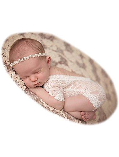 ARAUS Bébé Photographie Dentelle Siamois Lièvre Nouveau-Né Photo Vêtements Bébé 0-4 mois (Blanc)