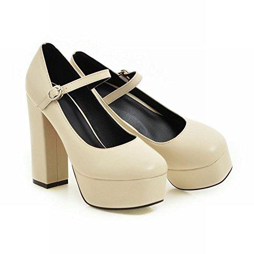 Mee Shoes Damen chunky heels Plateau Schnalle Pumps Beige