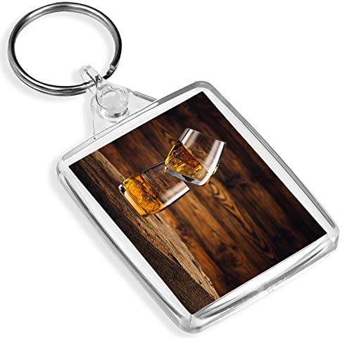 Ziel Vinyl Keyrings Whiskey On The Rocks Keyring Eiche Altholz Bar Alkohol Getränke Gift # 16204 -