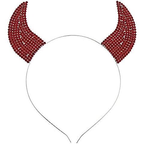 Colecciones de Rosemarie disfraz de Tiara Diadema Rojo Sólido cristales forma cuernos de demonio
