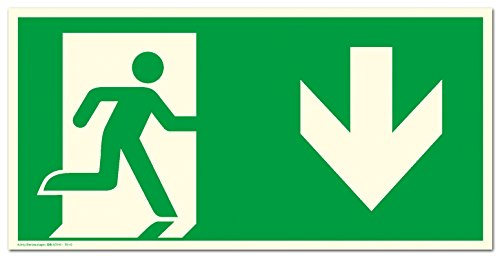 Schild Notausgang Pfeil nach unten langnachleuchtend 300 x 150 mm PVC selbstkl. gem. ASR A1.3 |DIN 7010 (Fluchtwegschild Rettungszeichen Rettungsweg)