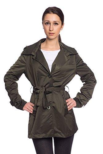 Abbino 5385 Trench Coat Femme Fille Dame - Fabriqué en Italie - 3 Couleurs - Trench Transition Printemps Été Automne Manches Longues Veste Vetements D'exterieur Elegant Sexy - Vert Khaki - M 40