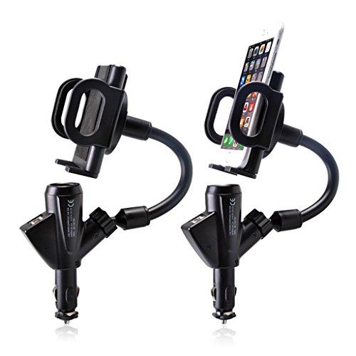 QIHANGCHEPIN Supporto da auto per auto Dual USB Caricabatteria da auto per auto Accendisigari Supporto da auto Supporto da navigazione Supporto per cellulare per iPhone X / 8/7 / 7P / 6s / 6P / 5S, Galaxy S5 / S6 / S7 / S8, Google HUAWEI