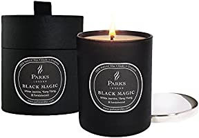 Parks London Black Magic Bougie naturelle Jasmin blanc, Ylang-Ylang, Bois de santal & Patchouli Verre noir/Couvercle nickel 235 g Coffret cadeau
