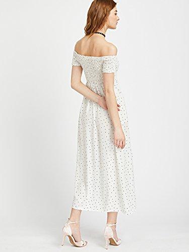 ROMWE Damen Maxi Gesmoktes Kleid Schulterfrei Polka Dot Muster Sommer Smokkleid Weiß