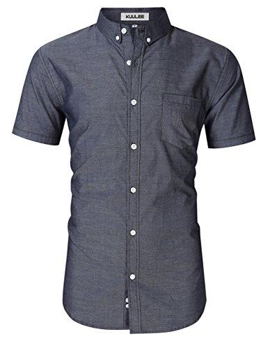 Kuulee camicia di jeans slim fit fashion casual manica lunga in cotone, maniche corte grigie 2xl