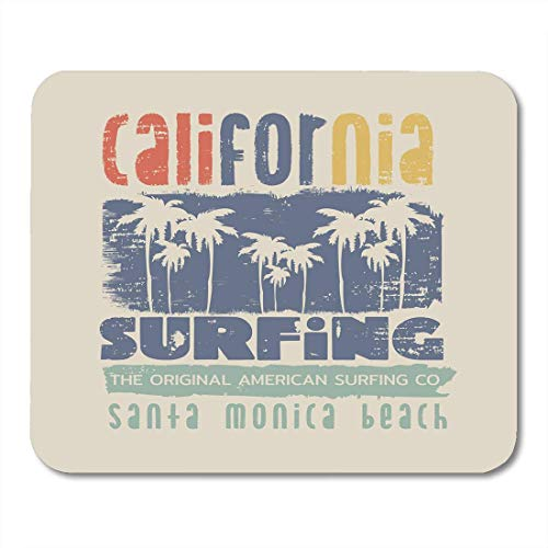 Deglogse Gaming-Mauspad-Matte, Blue Vintage on The of Surfing and Surf in California Santa Monica Beach Grunge Graphics White Summer Mouse Pad,Desktop Computers -
