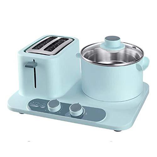 KASIQIWA Máquina Multifuncional para el Desayuno, 3-en-1 Pan Tostado para Hornear, tallarines, cocción y Carnes a la Parrilla con sartén eléctrica y Cacerola para el hogar,Blue