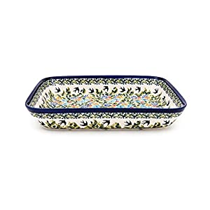 Hand-Decorated Polish Pottery Casserole Dish for 2-3 people 29,5×22,5 cm x 4.5 cm in design DU182
