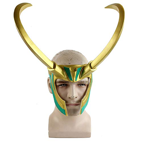 MINGZUO Loki-Helm mit goldenen Hörnern Cosplay-Maske Kostüm Halloween Outfit (die dunkle Welt/Ragnarok - Dark Helm Kostüm