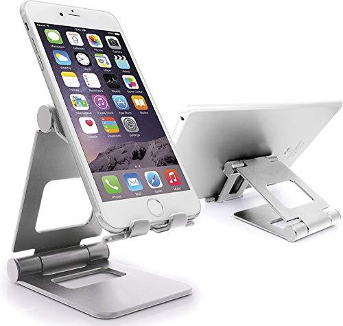 MyGadget Smartphone Ständer [Multi-Winkel Faltbar] Aluminium Stand Tischhalterung für iPhone 11 Pro Max X XS Max XR/Samsung S20 S10 S9 in Silber