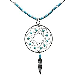 Dream Catcher Turquesa Sintética Plata de Ley Willow aro collar 46 cm