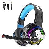 Gaming Headset für PC, PS4, Xbox One, Surround-Sound Stereo Over Ear mit Lautstärkeregler LED Licht, Rauschunterdrückung für Laptops, Smartphone, Computer