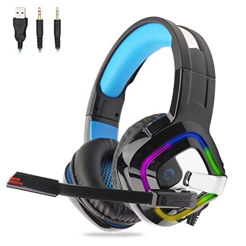Gaming Headset für PC, PS4, Xbox One, Surround-Sound Stereo Over Ear mit Lautstärkeregler LED...