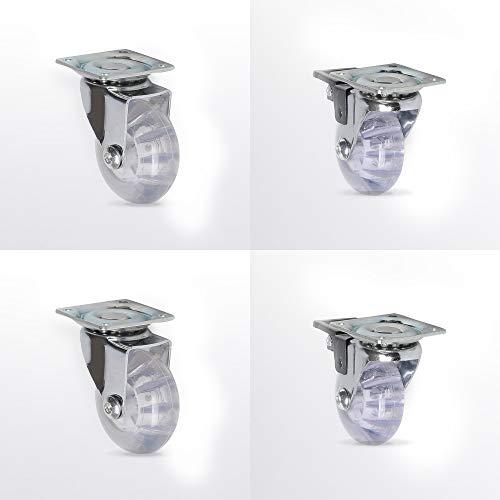 Lenkrollen Möbelrollen Transparent Lenkrollen für Möbel Transportrollen mit Kugellager 2 Lenk, 2 Lenkrolle + Bremse Ø35mm