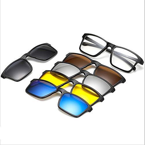 Easy Go Shopping Quadratische Form Retro Sonnenbrille mit 5-teiligen austauschbaren Gläsern für Männer Frauen Unbreakable TR90 Rahmen Clip-on UV-Schutz Sonnenbrille mit Magnetic