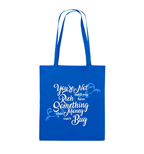 Comedy Bags - You're not rich until you have something that money can't buy - Jutebeutel - lange Henkel - 38x42cm - Farbe: Schwarz / Weiss-Neongrün Royalblau / Weiss-Hellblau