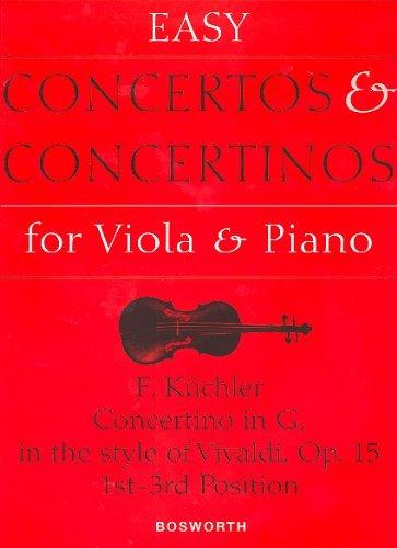 Ferdinand KÜCHLER: Concertino IN G, OP. 15 (im Stil von Vivaldi) - einfaches Konzert in der Fassung für Viola (1. bis 3. Lage) und Klavier in G-Dur - mit Bleistift - Noten/Sheet Music