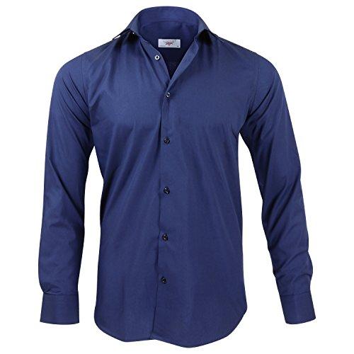 Captain Slim Fit Herren Hemden (in 24 Verschiedenen Farben) Langarm-Hemd 100% Baumwolle (S, Navy Blau)